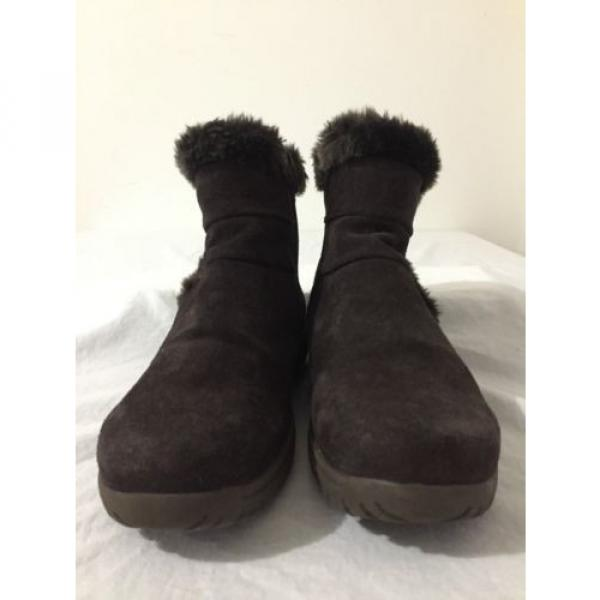 BearTraps 'Cammy' Ankle Boots Brown Suede Faux Fur Linde Size 7.5M #2 image