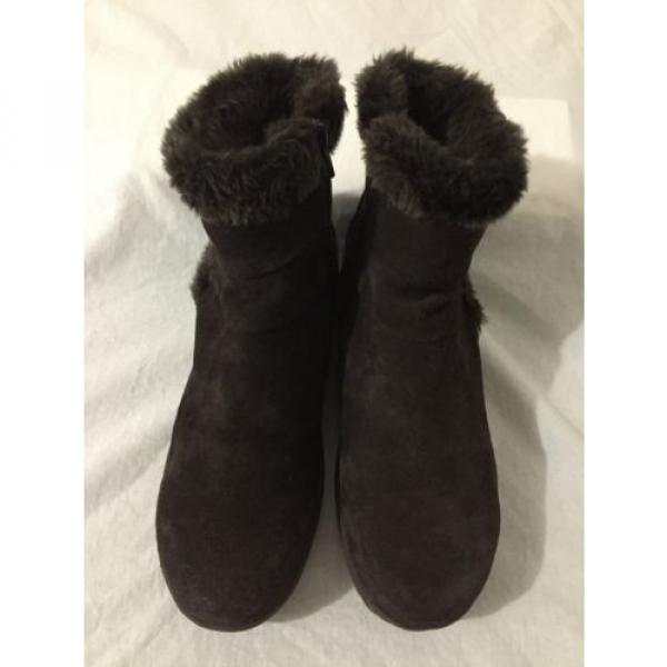 BearTraps 'Cammy' Ankle Boots Brown Suede Faux Fur Linde Size 7.5M #4 image