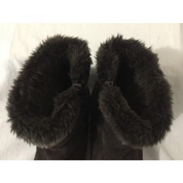 BearTraps 'Cammy' Ankle Boots Brown Suede Faux Fur Linde Size 7.5M #5 image