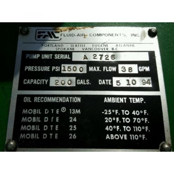 FAC Hydraulic Pump Unit 40 HP, 30 HP, 1.5 HP 300 psi #12 image