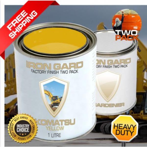 IRON GARD 1L Two Pack Paint KOMATSU YELLOW Excavator Loader Bucket Attach Dozer #1 image