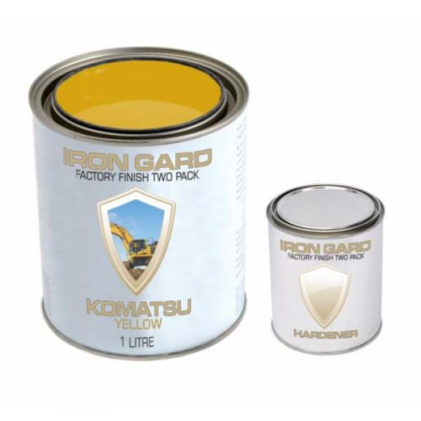 IRON GARD 1L Two Pack Paint KOMATSU YELLOW Excavator Loader Bucket Attach Dozer #2 image