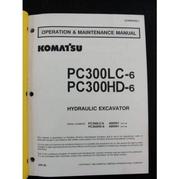 Komatsu excavator operators owner users manual PC300LC-6 PC300HD-6 CEAM3006C1 #2 image